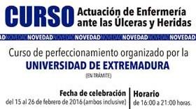 La  Universidad de Extremadura imparte el curso Actuación de Enfermería ante las Úlceras y Heridas