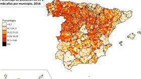 Las personas mayores suponen ya el 18,4% del total de la población española